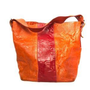 JANA FEIFER | large orange leather bucket tote bag
